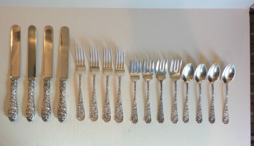 16 PC. SET VINTAGE STIEFF REPOUSSE / STIEFF ROSE STERLING SILVER FLATWARE