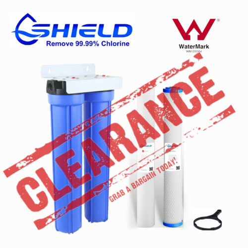 """Whole House Water Filter System 20"""" x 2.5"""" Big Blue 2 Stages Sediment Carbon"""
