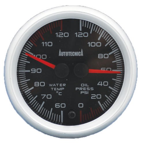 Black Electronic Water Temperature and Oil Pressure Dual Gauge with 60mm Cup 4WD