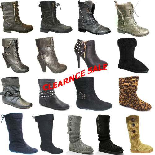 LADIES WOMENS WINTER BOOTS FLAT SIZE MID CALF ANKLE SHOES ARMY HEEL SUEDE BOOTS