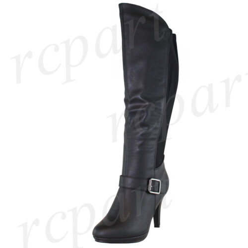 New fashion women's shoes knee high boot side zipper Stiletto solid Black