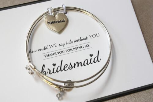 """Silver-Tone Trinky Things """" Bridesmaid """"  Bracelet with Note Card Box Heart"""