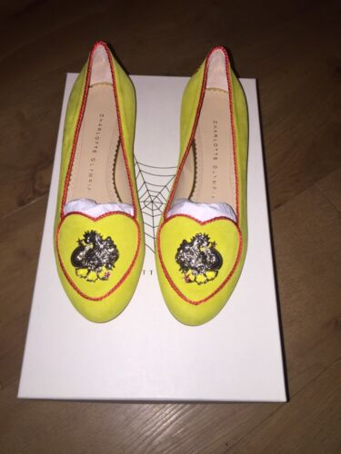 Charlotte Olympia Yellow 'Birthday shoes-Rooster' Suede Shoes Size 36/3 BNWT+