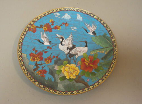 """ANTIQUE CHINESE CLOISONNE ENAMEL 10"""" PLATE / CHARGER, CRANES STANDING"""