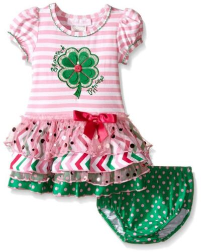 Bonnie Jean Baby Girls St Patricks Shamrock Tutu Green Pink  Dress 0-24 Months