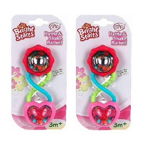 Bright Starts Rattle & Shake Barbell Pink Girl Toy 3M+ Baby Shower Gift LOT OF 2