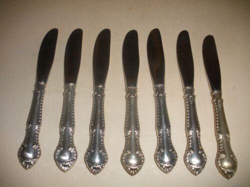 """Lot of 7 Gorham Sterling Silver butter knives   6 1/2"""" English Gadroon knife"""