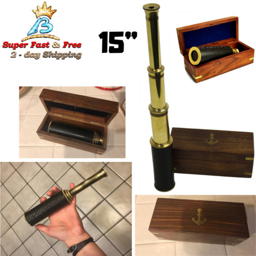 "15"" Handheld Brass Telescope With Wooden Box Antique Optic Nautical Pirate Scope"