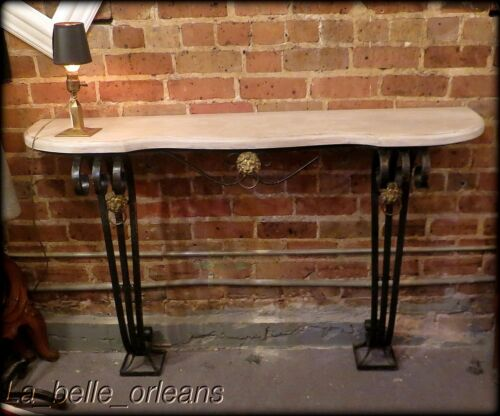 ANTIQUE WROUGHT IRON / BRASS AND FAUX MARBLE TOP WALL CONSOLE. L@@k!!!