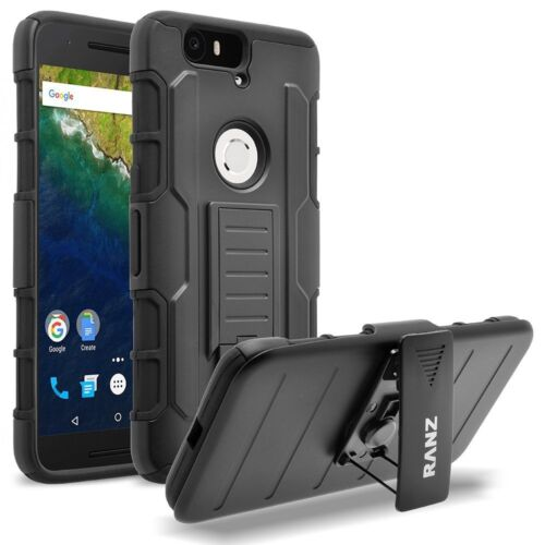 Nexus 6P Case, Impact Armor Hybrid Belt Clip Case with Kickstand - Black