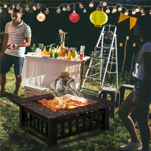 Outdoor Fire Pit BBQ Firepit Brazier Garden Square Table Stove Patio Heater 81cm <br/> UK Stock-24Hr Free shipping,without BBQ Grill Shelf!