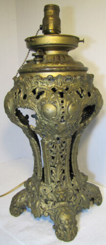 Antique VICTORIAN 1800's Figural & Decorated Oil LAMP - ornate design throughout