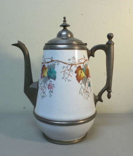 "TALL 19th C. PEWTER TRIMMED GRANITEWARE 11.5"" COFFEE POT, AUTUMN LEAF DECORATION"