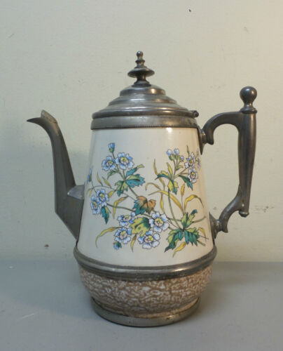 UNUSUAL 19th C. PEWTER TRIMMED GRANITEWARE COFFEE POT, COLORFUL FLORAL DESIGN