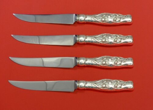 Lily of the Valley by Whiting Sterling Silver Steak Knife Set 4pc HHWS  Custom