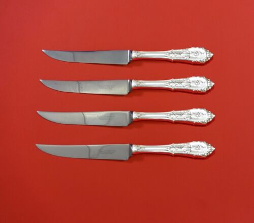 """Rose Point by Wallace Sterling Silver Steak Knife Set 4pc HHWS  Custom 8 1/2"""""""