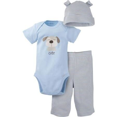 Gerber Baby Boy 3-Piece Light Blue Dog Outfit; BABY CLOTHES SHOWER GIFT