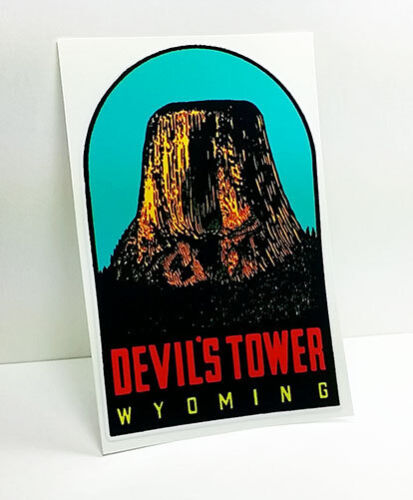 Devil's Tower Wyoming Vintage Style Decal / Vinyl  Sticker, Luggage Label