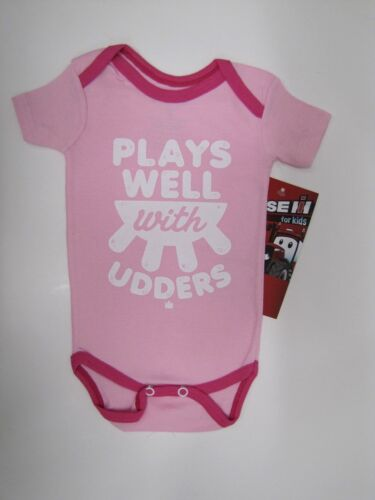 """Case IH Infant Pink Creeper """"Plays Well With Udders""""  Size NB"""