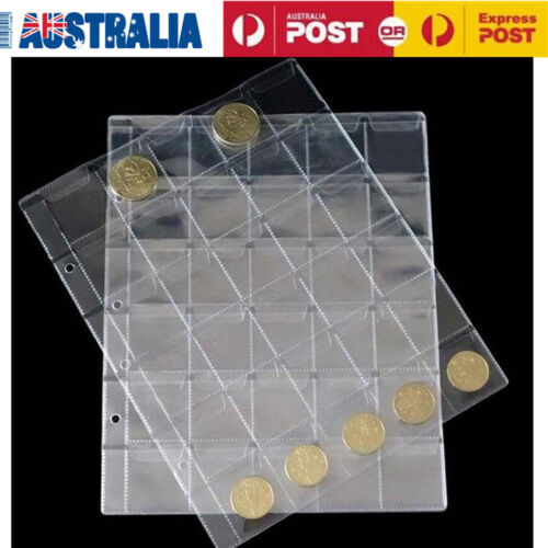 10pcs 30 Pockets Coin Holders Folder Pages Sheets For Collection Album Storage