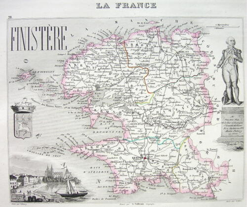 1851 COLOR MAP H/C - FRANCE Department Finistere View of Kemper