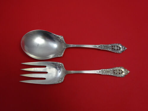"""Rose Point by Wallace Sterling Silver Salad Serving Set All Sterling 9"""""""