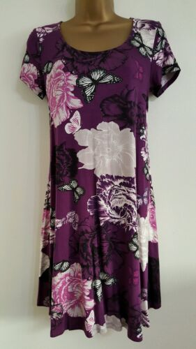 NEW M&Co Butterfly Floral Print Smock Tunic Dress Purple Casual Day 8-14