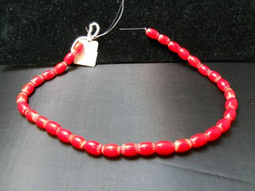 Red 6-Layer Oval Chevron Glass Beads, Strand of Approx. 33 Beads and 8mm x 12mm