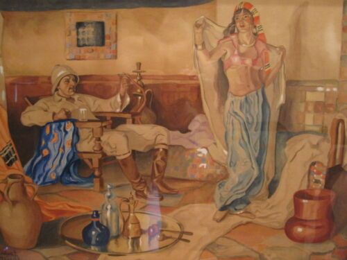 ANTIQUE ARABIAN NIGHTS MIDDLE EAST ARTS CRAFTS DECO HOOKAH LIQUOR PAINTING