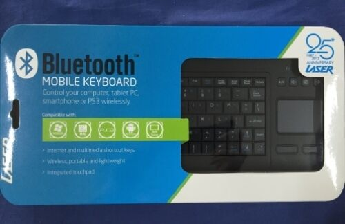 New Laser Keyboard Bluetooth Touch-Pad Slim Black