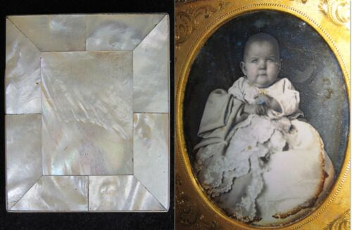 ANTIQUE AMERICAN DAGUERREOTYPE BABY ANGEL RARE MOTHER OF PEARL CASE ART PHOTO