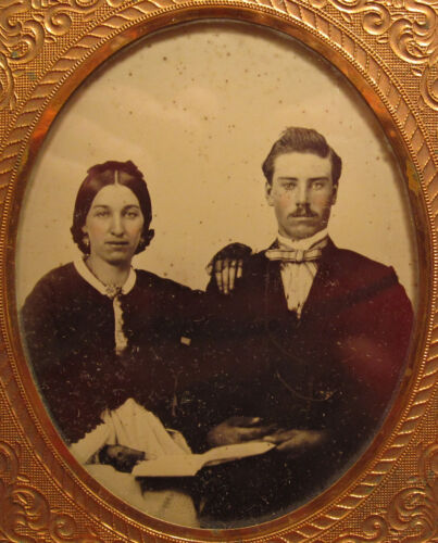 VICTORIAN AMERICAN NEWLYWED MARRIAGE LICENSE ? BIBLE? 6TH PLATE AMBROTYPE PHOTO