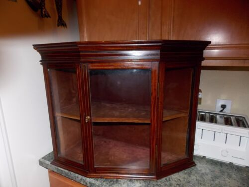 Antique Glass Display Cabinet Corner Wall Hanging Mounted 1800's Beautiful Inlay