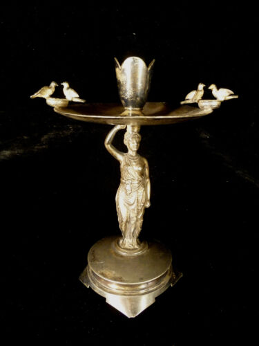 19TH CENTURY SILVER PLATE FIGURAL CENTERPIECE CANDLE OR VASE HOLDER - CIRCA 1885