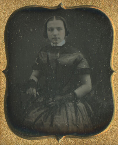 DAGUERREOTYPE AMERICAN BEAUTY 6th BARE ARMS GIRL VICTORIAN HAIRSTYLE FOLK ART LK