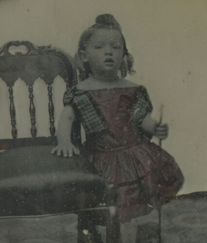 ANTIQUE ANGEL WALKING CANE ARTISTIC VICTORIAN 6th PLATE COLORED AMBROTYPE PHOTO