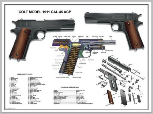 """Poster 12''x18"""" U.S.Army Colt 1911 Cal .45 ACP Manual Exploded Parts Diagram WW2Price Guides & Publications - 171192"""