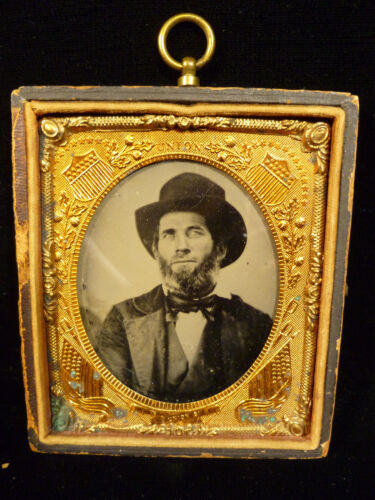 RARE CIVIL WAR TINTYPE IN GILT COPPER FRAME W/ FLAGS, SHIELDS & CANNONS C. 1863Photographs - 36039