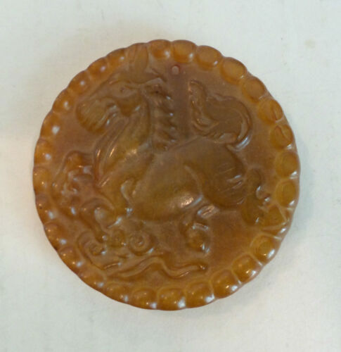 19TH C. ANTIQUE CHINESE HAND CARVED PENDANT with HORSE, DRAGON w/PEARL