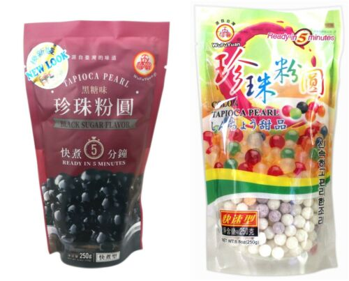UK Seller! Wufuyuan Tapioca Pearl 250g Black and Colour for Bubble tea drink <br/> New Look, New Packaging, Ready In 5 Minutes