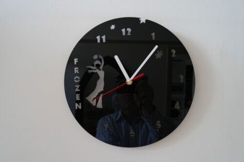 FROZEN design wall clock, black plexiglass [ N-8 ]
