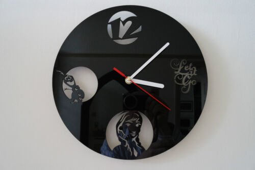 Frozen design wall clock, black plexiglass [ P-8 ]
