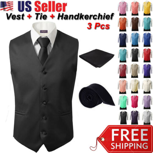 3Pcs SET Men's Formal Vest Slim Tie Hankie Causal Fit Tuxedo Suit Waistcoat Coat <br/> ✔Quick Shipping✔1-Day Handling✔High Quality✔Low Price
