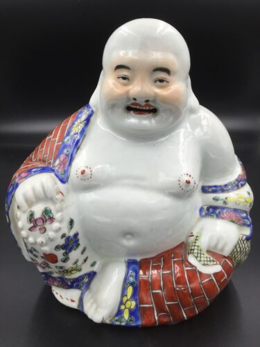 A Large Chinese Porcelain Sitting Laughing Buddha