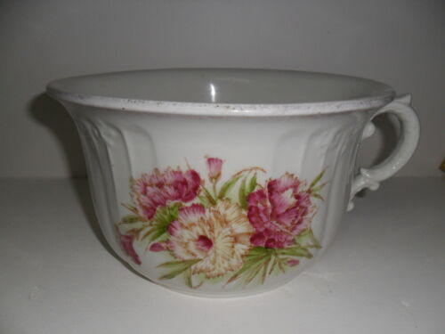 Vintage White Ceramic Chamber Pot  with Floral Design, German?[a4]