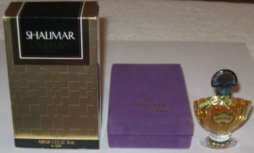 Vintage Guerlain Shalimar Perfume Bottle/Purple Boxes - Unused 1/3 OZ - Full