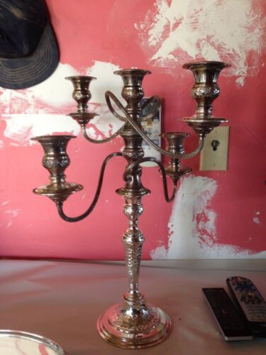 stunning rare silver IFS Israel Freeman & Sons hand chased candelabrum,ENGLAND