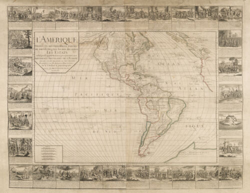 Gaspard Bailleul Wall Map of the Western Hemisphere