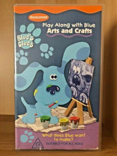 BLUE'S CLUES ~ PLAY ALONG WITH BLUE ~ ARTS AND CRAFTS ~ RARE VHS VIDEO