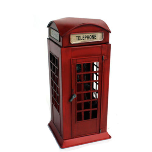 Vintage London Red Telephone Box Booth Antique Metal Phone Booth Decor Figurine